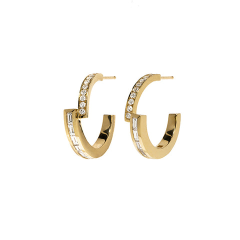 """Pave & Baguette Diamond Hoops"""