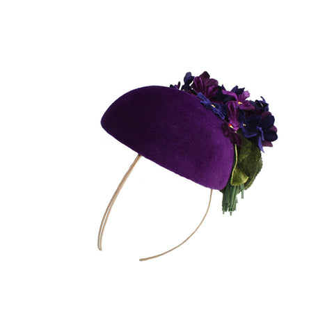 """Tall Velour"" Beret with Violet Trim"