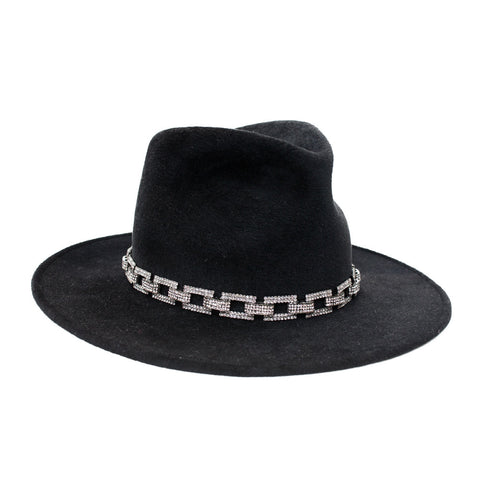 """Pinched Trilby"" Black Hat"