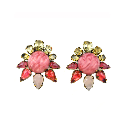 """Pink Sun"" Clip Earrings"