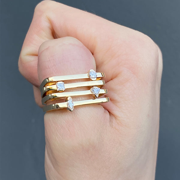 """Maasai Square Band With Marquise Diamond"" Ring"