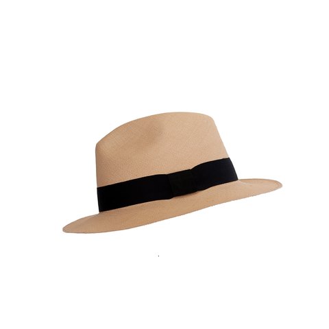 """Quito Brisa"" Nude/Black Panama Hat"
