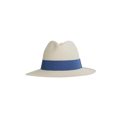 """Quito Brisa"" White/Blue Panama Hat"