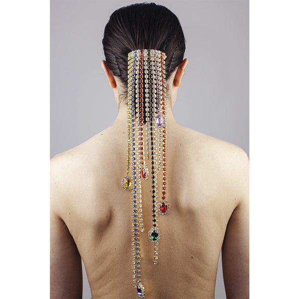 """CRYSTAL FRINGE"" MULTI-COLOUR PONYTAIL HAIR CLIP"