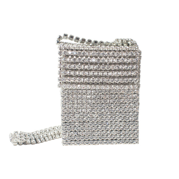 """Crystal Flapper Mini Bag"" Clear/Crystal Silver"