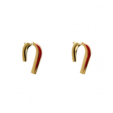 """SMALL HEEL"" RED ENAMEL EARRINGS"