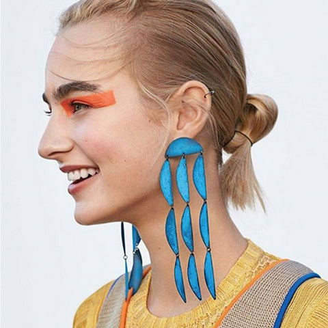 """Rain Earrings"" Blue Oxide"