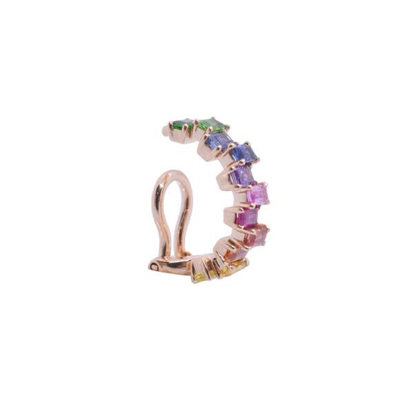 """RAINBOW STITCH 13"" 18K ROSE GOLD, RUBY & SAPPHIRE MONO EAR CUFF"