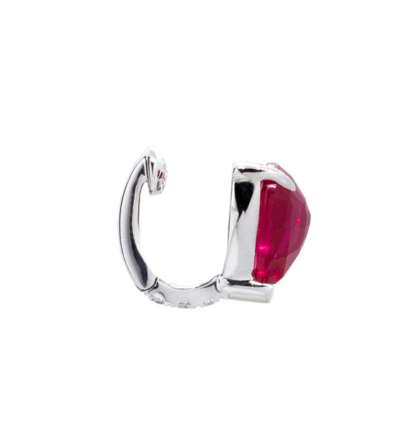 18K WHITE GOLD, LAB-CREATED RUBY & DIAMOND EAR CUFF