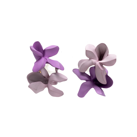 """Double Violet"" Clip-on Earrings"