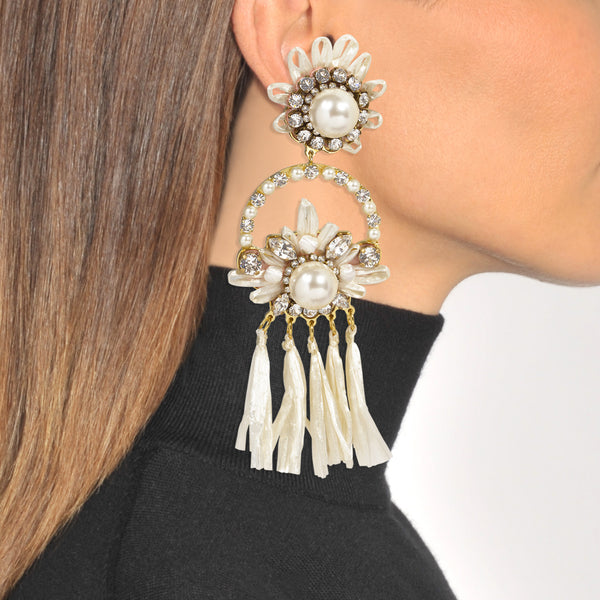 """Malena White"" Earrings"