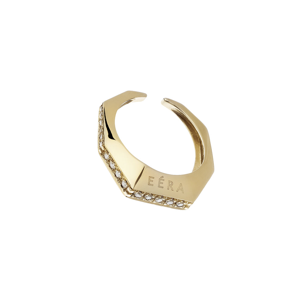 """SABRINA"" SMALL YELLOW GOLD & DIAMOND EAR CUFF / RING"