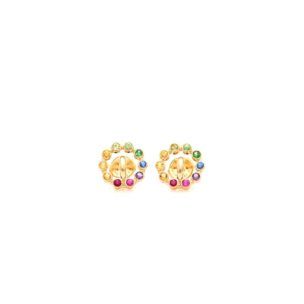 """Saturn XS Multicolour 18K Gold"" Earrings"