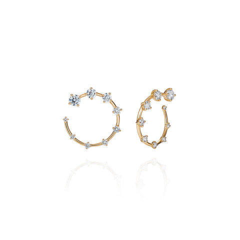 """Circle Small"" 18k Yellow Gold and Diamonds Earrings"