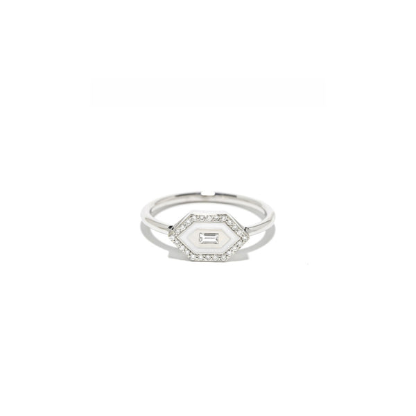 """E/W Small Enamel Diamond Ring"""