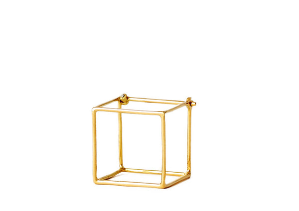 """Square 15mm"" 18K Yellow Gold Earring - ARCHIVES - 2"