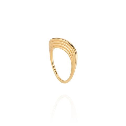 """Stream Lines Flat Band"" 18k Gold Ring"