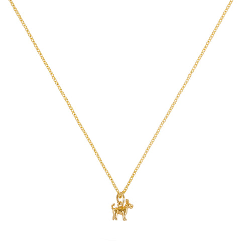 """TINY DOG"" 18K SIAM YELLOW GOLD NECKLACE"
