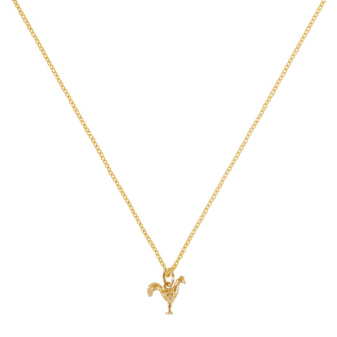 """TINY ROOSTER"" 18K SIAM YELLOW GOLD NECKLACE"