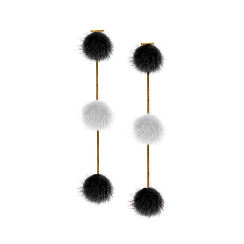 """Black/ White Mink Triple Pom Pom"" Earrings"