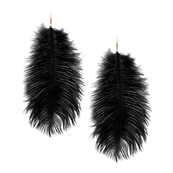 """Black Ostrich Feather Plume"" Earrings"