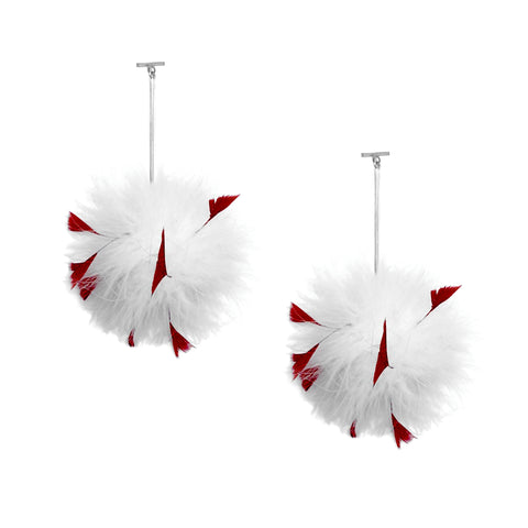 """White/ Red Marabou Coque Pom Pom T Bar"" Earrings"