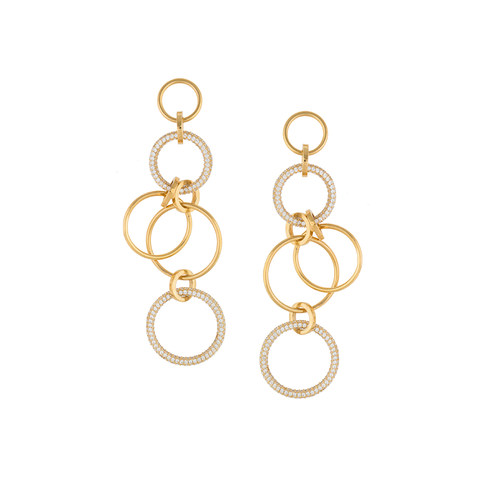 """Tribale Dangling Ring w/ Cubic Zirconium"" Earrings"