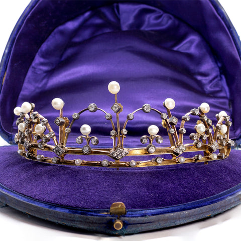 """French Silver, Gold, Diamond and Pearl"" Diadem"