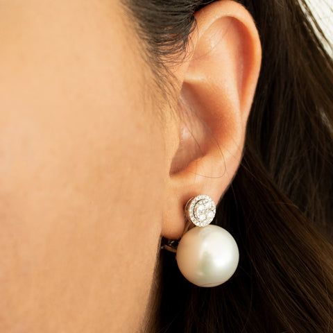 """Cultured Pearl and Diamond Ear Clips"" Earrings"