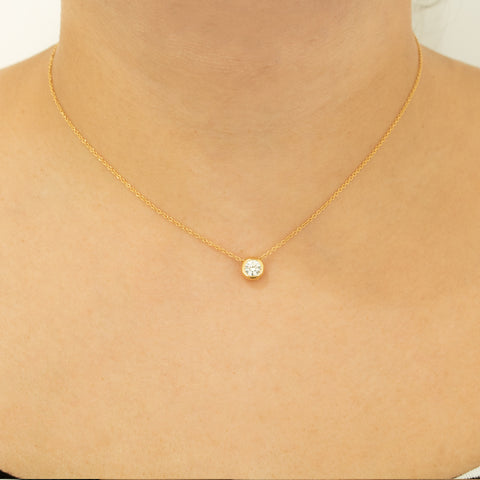 """18k Yellow Gold Diamond Solitaire"" Necklace"