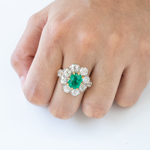 """Emerald, Diamond and Yellow Gold"" Ring"
