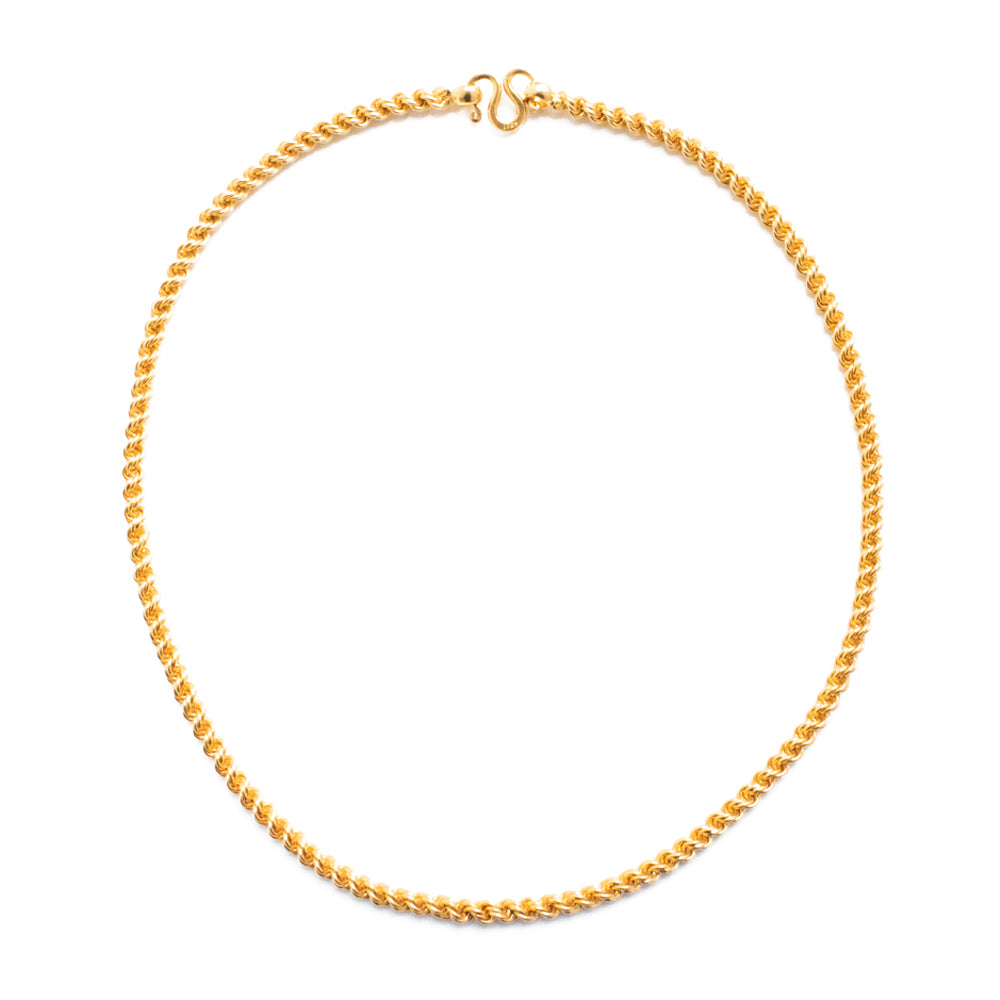 """22K Yellow Gold Rope Chain"" Necklace"