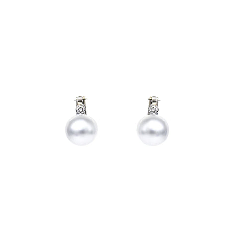"""A Pair of South Sea Cultured Pearl and Diamond"" Earrings"