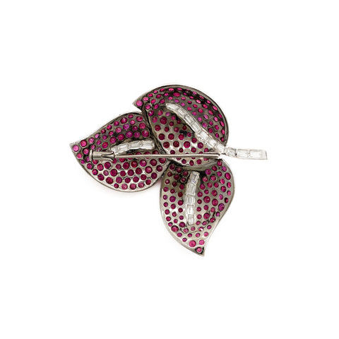 """White Gold Ruby and Diamond Leaf"" Brooch"