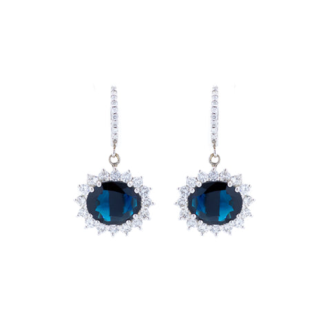 """18K White Gold & Dark Blue Sapphire"" Earrings"