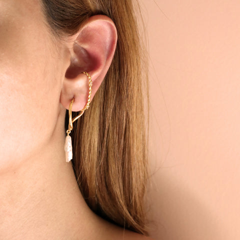 """WAVE HOOP WITH TWISTED WIRE CUFF"" MONO EARRING"