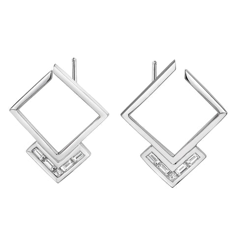 """White Light Cosmic Earrings V2"" White Gold"