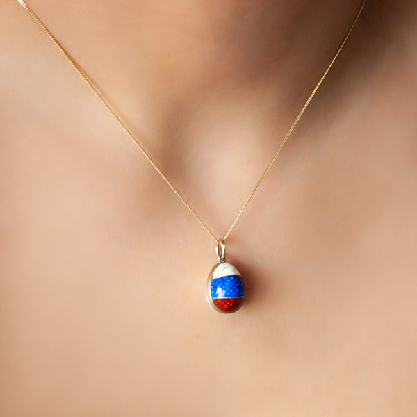 """White, Red & Blue Enamel Emblem Egg"" Pendant"