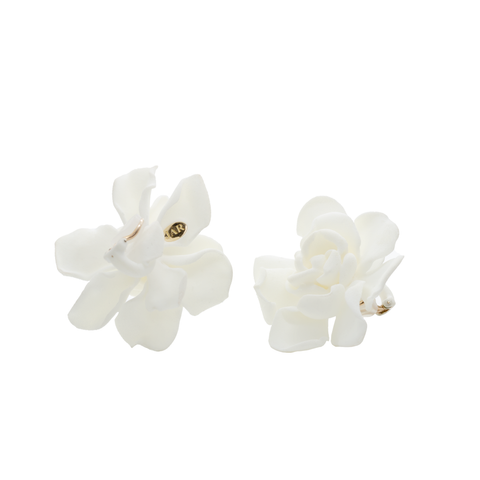 """Gardenia"" Clip-On Earrings"