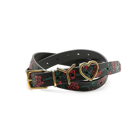 """Y Heart Belt 25mm"" Black/Red Roses"