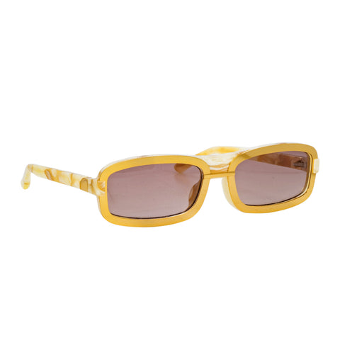 "Y/Project ""YP6C1SUN"" Rectangular Marble Gold Brown Sunglasses"