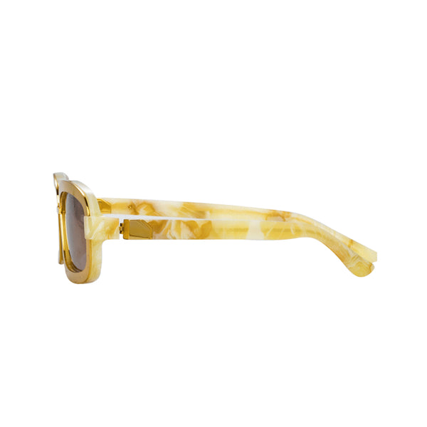 Y/PROJECT X LINDA FARROW RECTANGULAR MARBLE GOLD/BROWN SUNGLASSES
