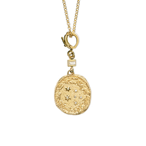 """ZODIAC SMALL DIAMOND COIN WITH SINGLE BAGUETTE"" NECKLACE"