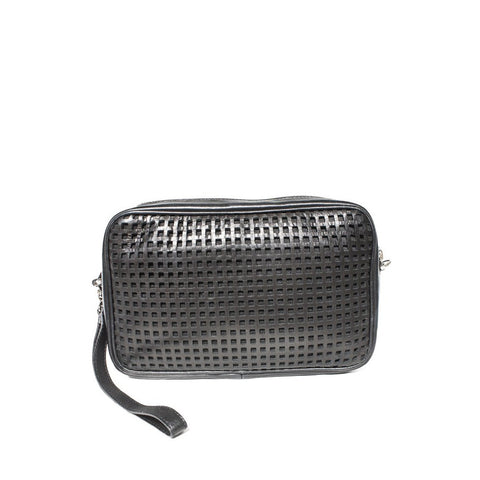 """Black Perforated"" Shoulder Bag"