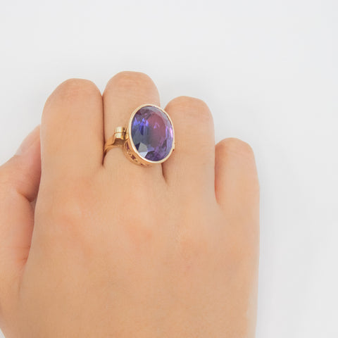 """14k Yellow Gold Amethyst Cocktail"" Ring"