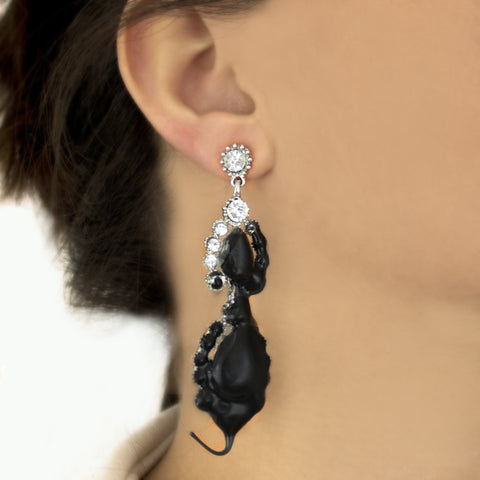 """DIAMOND DROP"" BLACK EARRINGS"