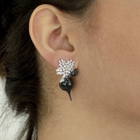 """PEARL DROP"" BLACK EARRINGS"