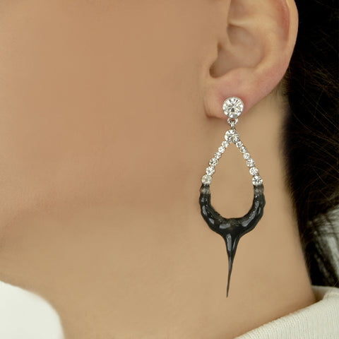 """HOOP DROP"" BLACK EARRINGS"