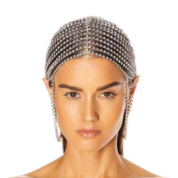 """CRYSTAL CUPCHAIN"" SILVER-PLATED HEADPIECE"