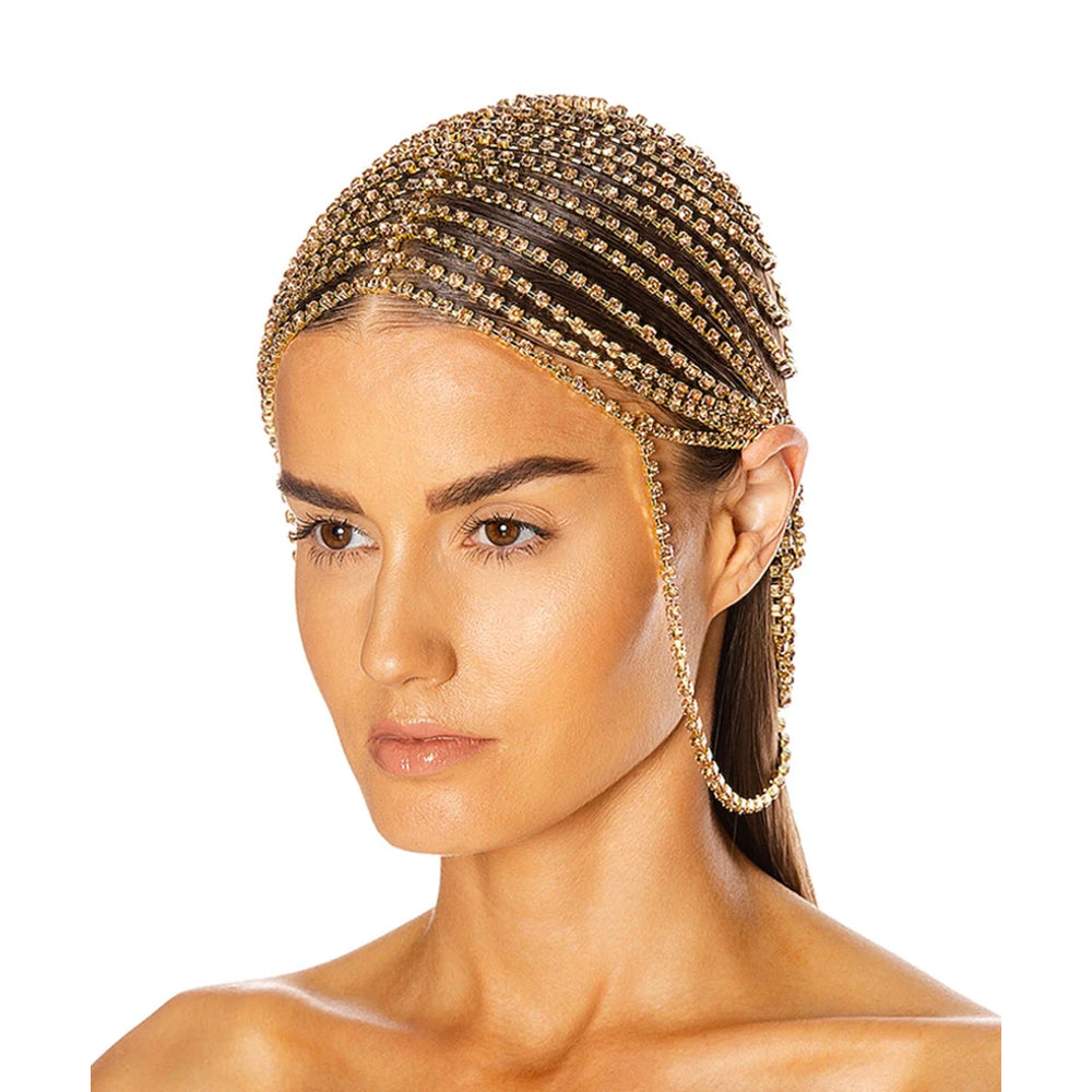 """CRYSTAL CUPCHAIN"" GOLD-PLATED HEADPIECE"